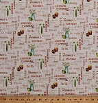 Cotton Farmer's Market Words Fruits Vegetables Eggs Flowers Peas Apples Pears Jam Food Kitchen Gardening Farming A Day on the Farm Burlap-Look Cotton Fabric Print by the Yard (4676-26442-MUL1)