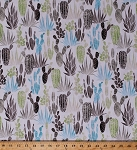 Cotton Cactus Plants Cacti Succulents Prickly Pear Cactus Garden Western Blue Green Gray Cacti on White Desert Dawn Earth Cotton Fabric Print by the Yard (P4340-58earth)