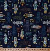 Cotton Space Robots Outer Space Planets Spaceships Rockets Astronauts Atomic Bots Kids Blue Cotton Fabric Print by the Yard (ZD-70882-001)