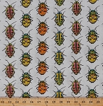 Cotton Bugs Beetles Insects Nature Orange Yellow Green Spotted Beetles on White Kids Cotton Fabric Print by the Yard (CJ6445-WHIT-D)