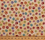 Cotton Paws Paw Prints Cats Pets Animals Multi-Colored Pawprints Happy Cats Cotton Fabric Print by the Yard (1649-24419-S)
