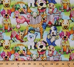 Cotton Colorful Dogs Puppies Puppy Animals Pets Poodles Great Danes Chihuahuas Basset Hounds Good Dogs Digital Cotton Fabric Print by the Yard (12205-MULTI)