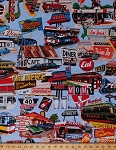 Cotton Diners Drive-Ins Cafes Signs Travel Road Trip Vacation Cars Driving Fast Food Restaurants Open 24 Hours Vintage Cotton Fabric Print by the Yard (4103EQ-61346-2)
