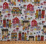 Cotton Town City Streets Houses Townhouses Buildings Bicycles Bikes Flowers Floral Baskets Colorful Spring Painted-Look Flower Pedals France White Cotton Fabric Print by the Yard (41248-X)