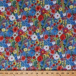 Cotton Flowers Floral Poppies Daises Field of Flowers Meadow Blossoms Blooms Painted-Look Gardens Gardening Botanical Spring Summer Flower Petals Blue Landscape Cotton Fabric Print by the Yard (41250-1)