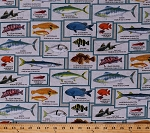 Cotton Saltwater Fish Types Breeds Fishing Identification Names Barracuda Goby Garibaldi Fish Sizes Californian Coast Fish Squares Frames Postcards Blocks Catalina Island Nature Marine Life Cream Cotton Fabric Print by the Yard (8202-Cream)
