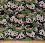 Cotton Giant Pandas Panda Bears Baby Panda Cubs Animals Wildlife Nature Plants Bamboo Leaves Flowers Scenic Pandamania Cotton Fabric Print by the Yard (1230-Black)