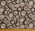 Cotton Vintage Clocks Clock Antiques Train Station Clocks Time United States Cities Railroads Railways Express Cream Cotton Fabric Print by the Yard (08505-07)