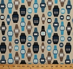 Cotton Wristwatches Men's Watch Timepieces Digital Clocks Blue and Gold Watches on Cream Boy Toys Retro Cotton Fabric Print by the Yard (APP-13357-267adventure)