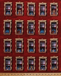 Cotton Funny Dogs Doggies Faces Windows Red Brick Wall Apartments Building Dogs Rule Animals Red Cotton Fabric Print by the Yard (8102TERRACOTTA)