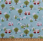 Cotton Camping Campers Trailers Trees Summer Vacation Vehicle Travel Transportation Retro Glamping Glamper-licious Aqua Cotton Fabric Print by the Yard (C6310-AQUA)