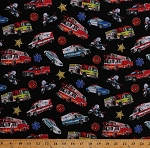 Cotton Emergency Vehicles Badges Fire Trucks Firetrucks Ambulances Police Cars Cops Paramedics Motorcycles EMT Medical In Motion Black Cotton Fabric Print by the Yard (143-Black)