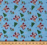 Cotton Mickey and Minnie Mouse Christmas Love Winter Holiday Christmas Trees Snowflakes Presents Gifts Kids Disney Blue Cotton Fabric Print by the Yard (66392-9130715)