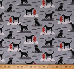 Cotton Dogs Animals Pets Fire Hydrants Food Dishes Toys City Sidewalk Ike Gray Cotton Fabric Print by the Yard (CX7247-GRAY-D)
