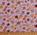 Cotton Paper Dolls Doll Clothes Clothing Kids Children's Girls Pink Vintage Dolly Cotton Fabric Print by the Yard (DOLLY-1-PINK)