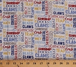 Cotton Seafood Shack Beach Nautical Coastal Ocean Tide Cape Crab Clam Shells Fishing Sailing Sea Food Words Names Allover Cotton Fabric Print by the Yard (22118-11CREAM)