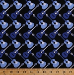 Cotton Guitars Music Musical Instruments Musicians Guitarists Blue Guitars on Black Three Quarter Time Cotton Fabric Print by the Yard (41058-1)