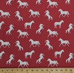 Cotton Horses Ponies Animals Equestrian Polka Dots Pony Up Red Cotton Fabric Print by the Yard (CX7239-REDX-D)