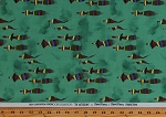 Cotton Abstract Tribal Shapes Figures People The Gathering Mary Fisher Green Water-Color Look Cotton Fabric Print by the Yard (2162P-2N-green)