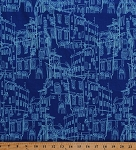 Cotton Paris City Streets Buildings Drawings Sketches Travel France Pepe in Paris Blue Cotton Fabric Print by the Yard (C3791-BLUE)