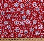 Cotton Snowflakes Winter Snow Paper Snowflakes Scissors Red White Holiday Christmas Cotton Fabric Print by the Yard (ACK-15814-223-HOLIDAY)