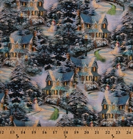 Cotton Holiday Winter Night Snowy Evening Snow Snowman Snowmen Festive Houses Christmas Thomas Kinkade Studio Cotton Fabric Print by the Yard (05454-99)