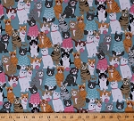 Cotton Cats Kittens Kitty Kitties Yarn Balls Sweaters Animals on Blue Cattitude Feline Cotton Fabric Print by the Yard (4063-11)