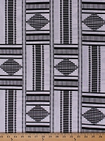Cotton African Design Black and White Abstract Geometric Stripes Africa Tribal Prints Cotton Fabric Print by the Yard (5270L-2B-blackwhite)