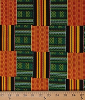 Cotton African Design Abstract Geometric Stripes Boxes Rectangles Green Red Yellow Black Africa Tribal Prints Cotton Fabric Print by the Yard (5270L-2B-green)