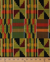 Cotton African Design Abstract Geometric Stripes Boxes Rectangles Checkered Green Red Yellow Africa Tribal Prints Cotton Fabric Print by the Yard (5270L-2B-yellow)