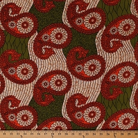 Cotton African Design Orange Green Paisleys Flowers Floral Africa Tribal Prints Cotton Fabric Print by the Yard (5270L-2B-orange)