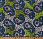 Cotton African Design Blue Green Paisleys Flowers Floral Silver Metallic Africa Tribal Prints Cotton Fabric Print by the Yard (5270L-2B-silver)
