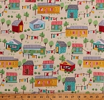 Cotton Houses Rural Neighborhood Homes Buildings Sheds Trees Scenic Yellow Cotton Fabric Print by the Yard (VANESSA-C5170-BUTTER)