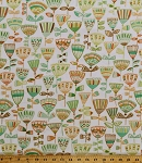 Cotton Flowers Floral Spring Green Orange Brown Garden Highline Erin McMorris Hudson in Leaf Cotton Fabric Print by the Yard (PWEM-074)