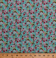 Cotton Flowers Small Floral Blossoms Blooms Leaves Spring Landscape Meriwether Bouquet Mint Cotton Fabric Print by the Yard (42634-10)