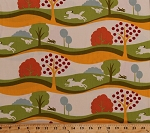 Cotton Dogs Pets Animals Trees Hills Landscape Neco Frolic by Momo Green Orange Whimsical Cotton Fabric Print by the Yard (16131-11)
