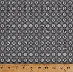 Cotton Typewriter Keys Letters Alphabet Punctuation Marks Writing Writers Gray Vintage Cotton Fabric Print by the Yard (4673-26416-DKGRY1)
