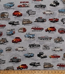 Cotton Antique Classic Cars Hot Rods Vehicles Trucks Vans Old Guys Rule Charcoal Gray Vintage Cotton Fabric Print by the Yard (AOD-16698-184CHARCOAL)