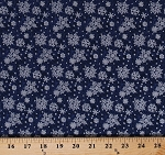 Cotton Snowflakes Silver Metallic Shimmer on Blue Winter Holiday Christmas Basics Snow Swirls Cotton Fabric Print by the Yard (103-36101)