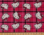 Hello Kitty Plaid Toss Pink Cats Cat Kitten Kids Velour Fabric By the Yard (61137-CA70710)