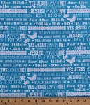 Cotton Jesus Loves Me II Song Lyrics Words Christian Hymns Calligraphy Fonts Butterflies Hearts Kids Children's Music Words on Blue Cotton Fabric Print by the Yard (6819-11)