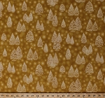 Cotton Christmas Trees Evergreens Gold Metallic Stars Holiday Festive Winter's Grandeur 5 Gold Cotton Fabric Print by the Yard (SRKM-16581-133GOLD)