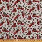 Cotton Christmas Trees Red Trucks Vans Campers Trailers Holiday Gifts Presents Dogs Red Truck Toss Cotton Fabric Print by the Yard (66692-A620715)