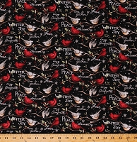 Cotton Cardinals Chickadees Christmas Words Winter Birds Coordinate Black Cotton Fabric Print by the Yard (66701-A620715)