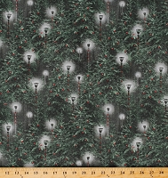 Cotton Christmas Lanterns Decorated Lamp Posts Evergreens Pine Trees Winter Holiday Wishes Cotton Fabric Print by the Yard (6927-66)