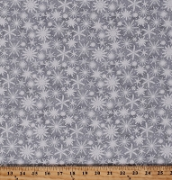 Cotton Snowflakes Snow on Gray Christmas Winter Festive Holiday Wishes Cotton Fabric Print by the Yard (6932-90)