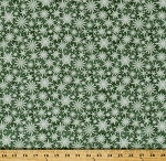 Cotton Snowflakes Snow on Green Christmas Winter Festive Holiday Wishes Cotton Fabric Print by the Yard (6932-66)