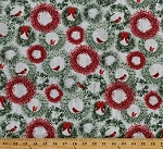 Cotton Christmas Wreaths Cardinals Decorations Birds Red Berries Winter Holiday Wishes Cotton Fabric Print by the Yard (6931-66)