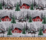 Cotton Winter Red Barns Wagons Scenic Snow-Covered Evergreens Christmas Trees Holiday Wishes Cotton Fabric Print by the Yard (6929-86)
