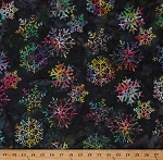 Cotton Batik Snowflakes Snowflake Multi-Colored Christmas Holiday Winter Bali Batik Hand-Painted Cotton Fabric Print by the Yard (Q2159-549-CELESTIALS)